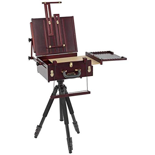 Soho Urban Artist Plein Aire Pochade Box and Aluminum Artist Tripod - French Easel with Storage and Shoulder Strap w/Aluminum Artist Tripod for Outdoor Painting