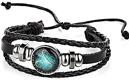 Para sana HYF Constelaciones pulseras par retro de la armadura del cuero perlas pulsera del brazalete de Aries