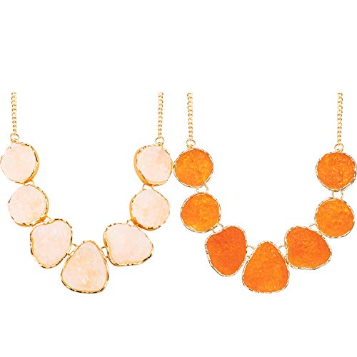(meekoo 2 Pieces Women's Drusy Stone Bead Statement Necklace Chunky Choker Sparkly Jewelry (Beige, Orange))