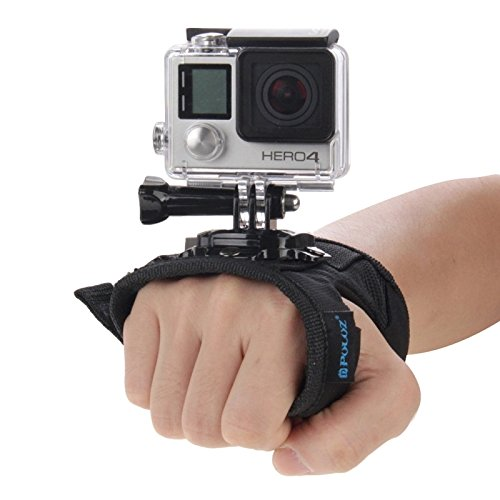 (PULUZ 360 Degree Rotating Glove Style Wrist Strap Band Mount Hand Palm Belt Lanyard Holder with Screw for GoPro HERO5/4 Session 5/4/3+ /3/2 /1, Xiaomi Yi Action Sport Outdoor Camera)