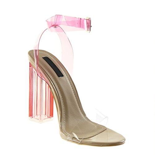 Angkorly Damen Schuhe Pumpe Sandalen - Knöchelriemen - String Tanga - Transparent - Flashy Blockabsatz High Heel 12 cm Rosa