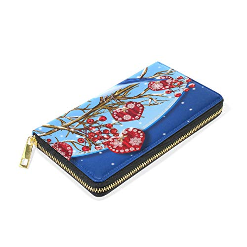 Wallet TIZORAX Purses Zip Womens Blue Christmas Birds Organizer Around And Clutch Handbags 1wP1OxHr