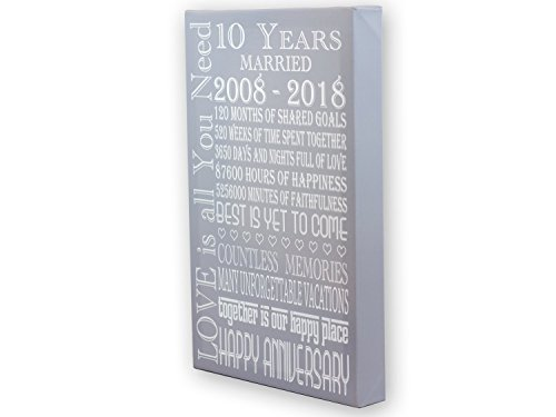 Anniversary Gift Canvas - Wife Anniversary Gift, Parents Anniversary Gift, Print 10 Years Anniversary