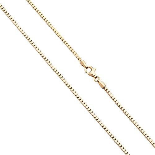 MiaBella Italian 18K Gold Over Sterling Silver Italian 1.6mm Diamond-Cut Mirror Box Chain 18
