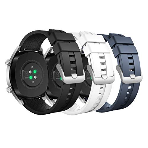 MoKo 3-Pack Band Compatible with Huawei Watch GT 2 Pro/GT 2e/GT 46mm/GT2 46mm/Watch 2 Pro/Galaxy Watch 3 45mm/Watch 46mm/Gear S3/Ticwatch Pro 3,22mm Soft Silicone Strap,Black/White/Midnight Blue