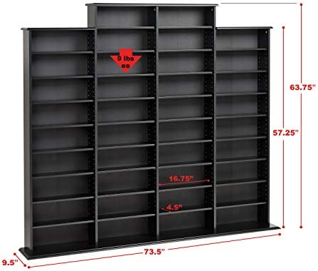 electronics, accessories, supplies, audio, video accessories, media storage, organization,  cd racks 3 on sale Prepac Quad Width Wall  Storage Cabinet, Black deals