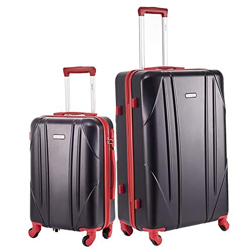 Newtour 2 Pieces Luggage Sets Suitcase with Spinner Wheels Hardshell Lightweight luggage Travel 20in 28in (Black & Red)