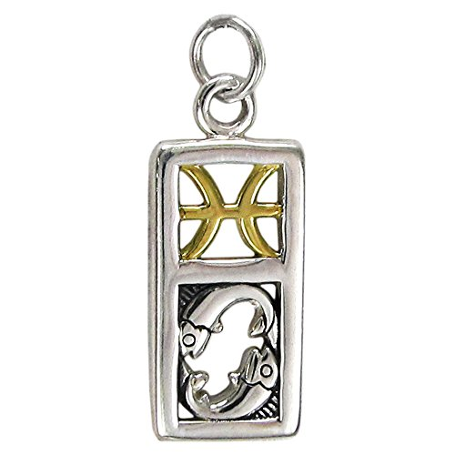 Sterling Silver Pisces the Fish Zodiac Charm with 14 Carat Gold Plating