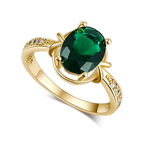 Psiroy Yellow Gold Plated Oval Cut Created Emerald Quartz Anniversary (Date Quartz Ring)