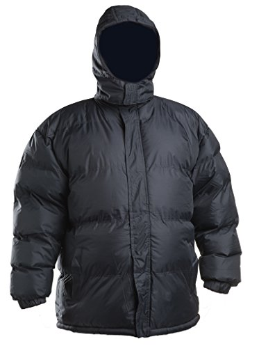 Lion Force Mens' Warm Puffer Coat Jacket Removable Hood Polar Fleece Lining (Large, Black)