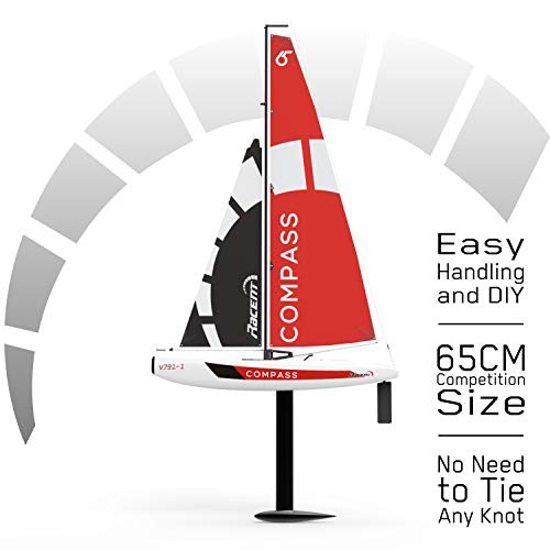 (VOLANTEXRC Remote Control Sailing Boat RC Sailboat Compass 650mm 2.4Ghz 4-Channel Ready to Run(RTR) RG65 Class Competition RC Boat RTR for Beginners, Adults (791-1))