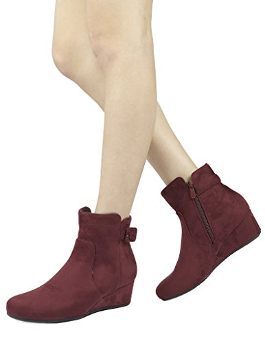 Booties PAIRS Low Wedge DREAM Women's Heel Burgundy Ankle zaURqYw