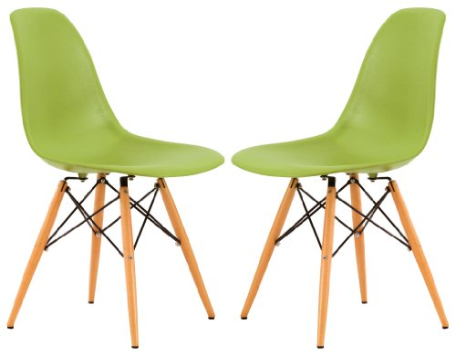 LeisureMod Dover Molded Side Chair Wood Dowel Legs (Set of 2), Green