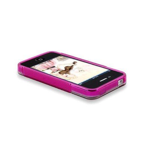 TOOGOO(R) Klar/ Frostweiss Pink S-Form TPU Rubber Huelle Schutztasche Case Etui Kompatibel mit Apple iPhone 4S AT & T / Verizon / Sprint