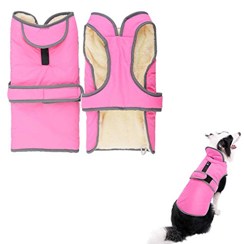 LEMONPET Dog Coat Waterproof Reflective Fleece Lining Cozy Warm Dog Jacket Winter Cold Weather Outdoor Apparel Clothes for Small Medium Large Dogs, S M L XL XXL (XXL, Pink) ()