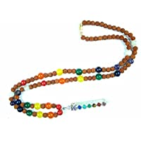 Meditation Mala- Rudraksha Seven Chakra Prayer Beads Yoga Malas Reiki Pendant