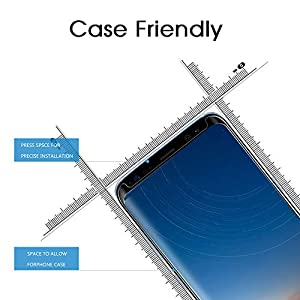 "Galaxy S8 Plus Screen Protector Tempered Glass, OTAO 3D Curved Dot Matrix [Case Friendly] Samsung Galaxy S8 Plus Glass Screen Protector (6.2"") with Installation Tray by OTAO"