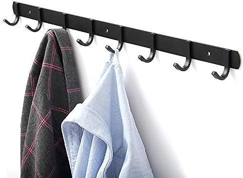 Perchas de Acero al Carbono Engrosado Negro 5 Hook Perchero de Pared Ganchos Percheros Pared de Montaje para Dormitorio Ba/ño y Cocina