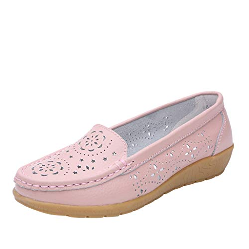 Chenway Women's Loafer Embossed Hollow Flat Shoes Soft Bottom Non-Slip Maternity Shoes Breathable Peas Shoes (5.5, Pink)