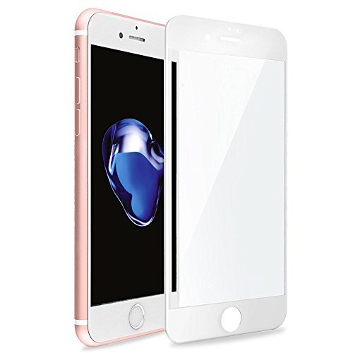 Betemp iPhone 8 Plus/iPhone 7 Plus 3D Full Coverage Tempered Glass, [PET Frame][Edge to Edge Crash Protection] Curved [Scratch Proof][Bubble Free] Screen Protector for Apple iPhone 8 Plus/7 Plus-White chic