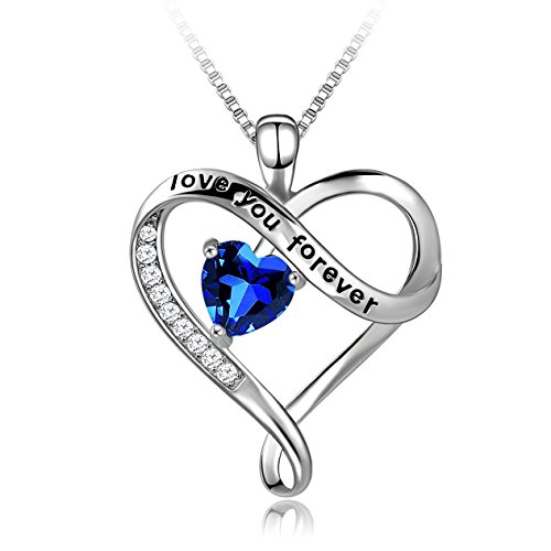 Long Way Necklace,925 Sterling Silver Love You Forever Blue Heart Pendant Necklace Fine Jewelry for Women, Best Gift for Mother Wife Girlfriend at Birthday,Christmas ()