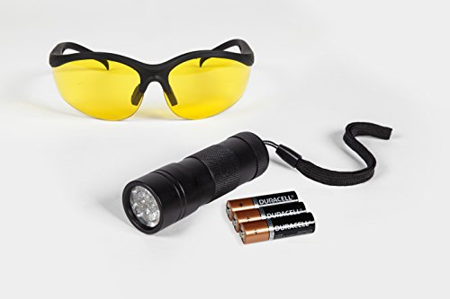 ShoppingLion 12 LED UV Flashlight with UV Glasses, Duracell Batteries Included, Pet Urine Detector, Ultraviolet Blacklight - Glasses Blacklight