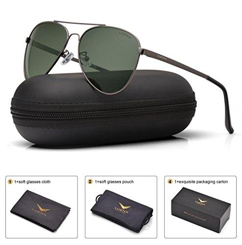Sunglasses Men Aviator Sun Glasses (Green) - 5