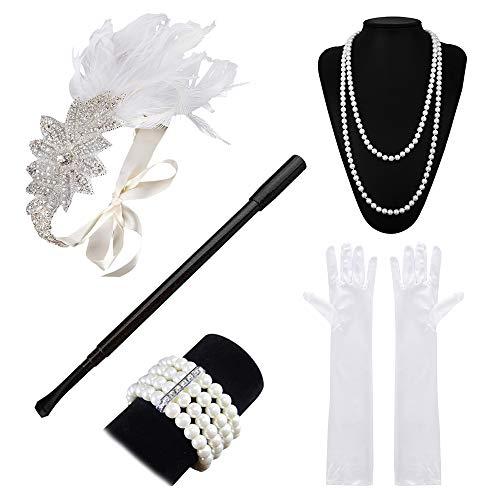 Lukovee 1920s Flapper Accessories Set Costume Headband Necklace Gloves Cigarette Holder Women ()