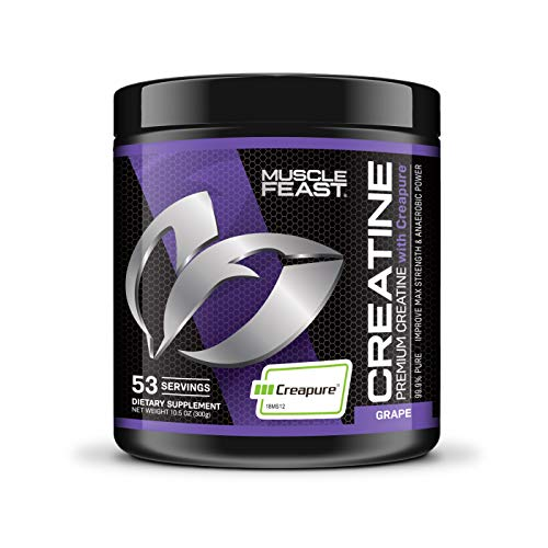 Creapure Creatine Monohydrate Powder - by Muscle Feast   Premium Pre-Workout or Post-Workout   Easy to Mix and Gluten-Free (300g, Grape)