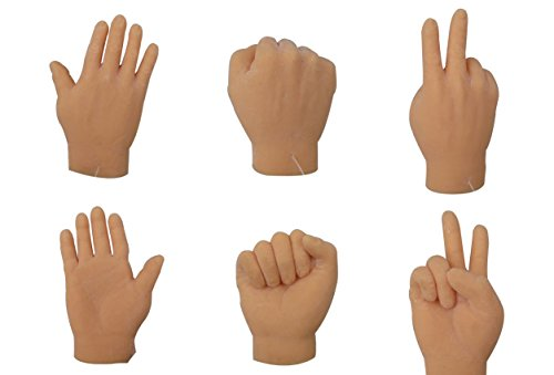 The Gags-Finger Hands Rock Paper Scissors-Game Set Of 6 Hands-2 Of Each Tiny Finger Hand-Realistic (Finger Hands)