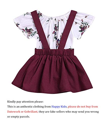 LOliSWan 2Pcs Infant Toddler Baby Girls Summer Boho Floral Rompers Jumpsuit Strap Skirt Overall Dress Outfits Set (White, 6-12 ()