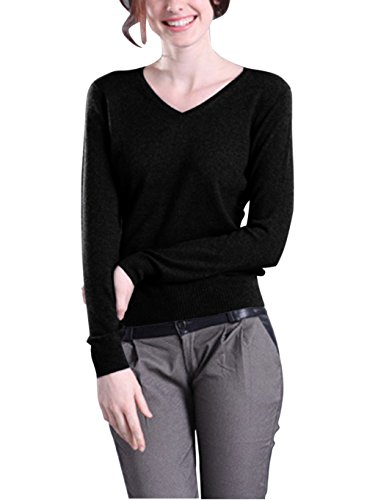 Winfon Pull Femme Laine Maille Col V Casual Manches Longues Hiver Chaud Pullover Sweater Top Blouse Noir