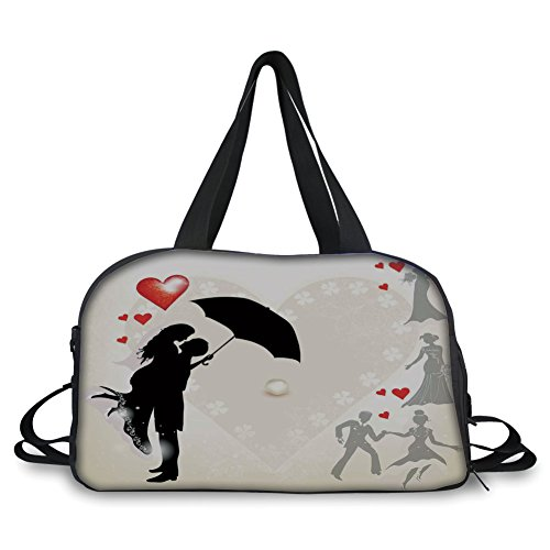 Travelling bag,Wedding Decorations,Couple in Love Umbrella Red Hearts Daisies Romance in the Air,Black White Red ,Personalized by iPrint