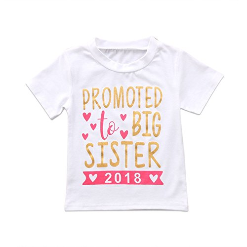 INHoney Baby Girl Promoted to Big Sister 2018 Letter Printed T-Shirt Top Blouse Shirt Outfit Clothes (4-5 Years, True (Big Sister Tee Shirts)