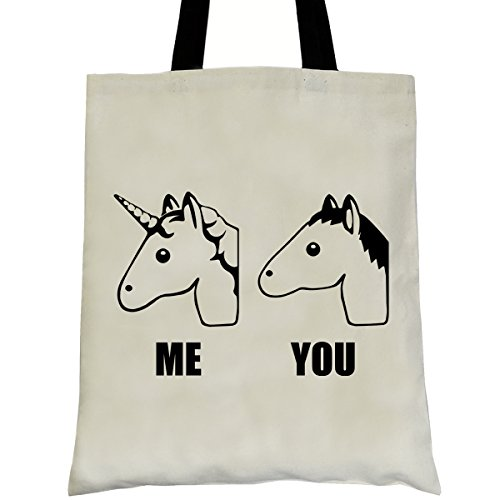 Print Fashion Natural Cotton Shopper Canvas Reusable Printed Bag Book Handled with Unicorn Motif and with Long Shoulder PREMYO Bag Unicorn Shopping Slogan Quote Bag Bag Funny Bag Tote Bag Custom XdxzwAf
