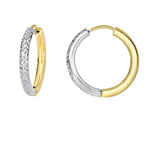 Aleksa Ladies 14K White & Yellow Gold Two Tone Reversible Diamond Cut Pattern Classic Tube Hoop ()