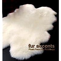 Fur Accents Faux Fur Area Rug / Quatro Sheepskin Design / 40x60 Off White