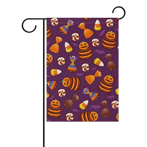 (GOOESING Double Sided Indoor Outdoor Garden Flag Halloween Pumpkin Cookie Candy Fade Resistant Seasonal Holiday Decor Yard Flag 12x18)