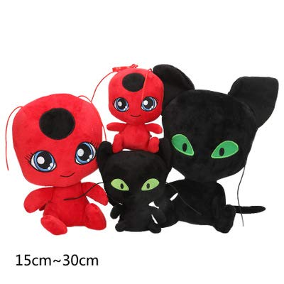 Y-Trust Plush Pendant Keychain Toys Plagg and Tikki Cat Noir Lady Bug Adrien Marinette Soft Stuffed Dolls (A): Home & Kitchen