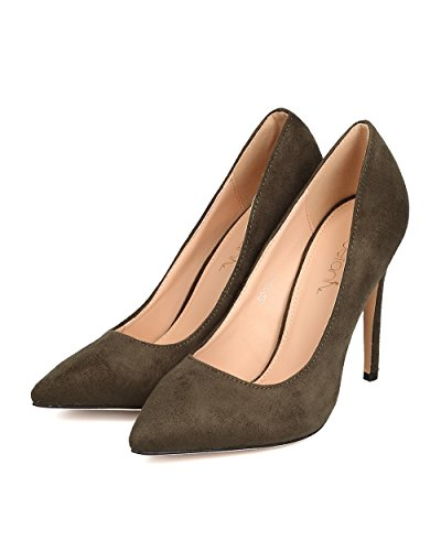 FE14 Faux Suede Toe BETANI Single Olive Sole Pointy Stiletto Women Pump O1qwx4xZ6