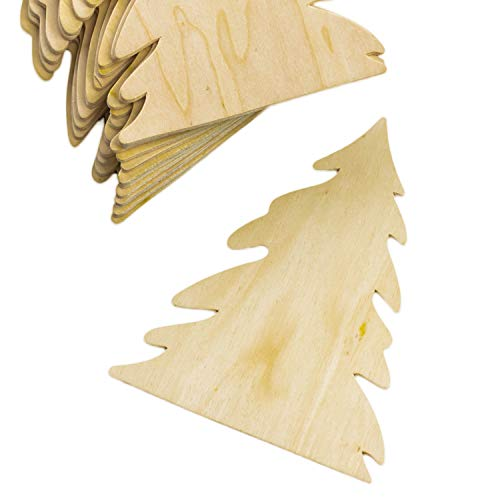 Factory Direct Craft Package of 12 Unfinished Wood Pine Tree Cutouts for Painting and Crafting