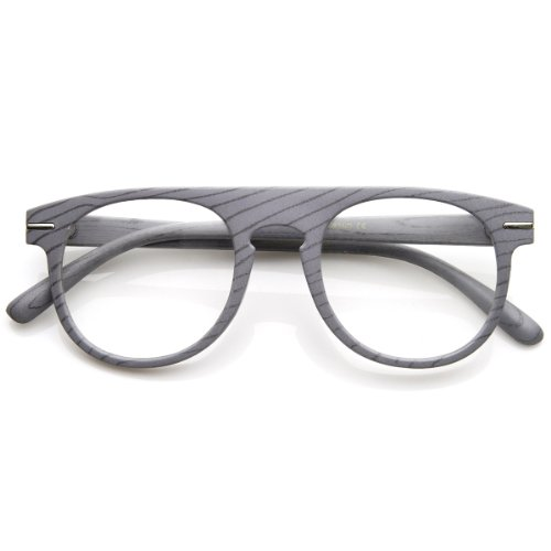 zeroUV - Wood Print Artistic Fashion Clear Lens P3 Round Glasses (Gray - Gray Frames Glasses