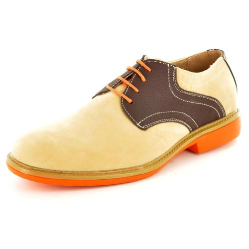 MenKontrast, Designer-inspiriert, Casual Schnürschuh im Brogue-Schuhe Beige