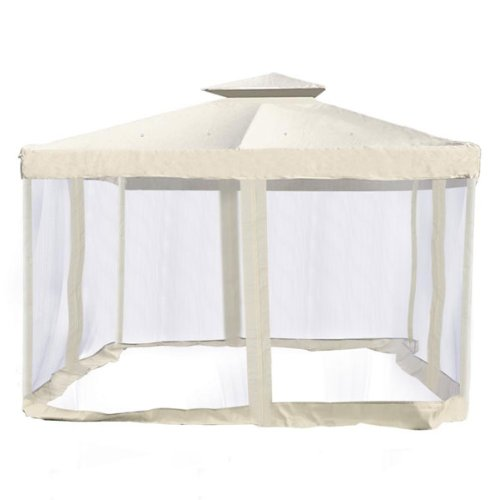 Ivory Replacement Cover for Outdoor Garden Gazebo with Netting – 10×10 Ft