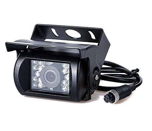 Upgrade Backup Camera Truck Rearview Reversing Parking Camera Full Metal Video Backup Camera Heavy Duty 18 LED Infrared Night Vision Waterproof Car Rear Camera 9-35V DVKNM (Four-pin — Camera)