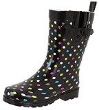 (US) Capelli New York Ladies Shiny Multi Dots Printed Mid-Calf Rain Boot Black Combo 8