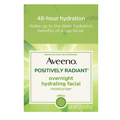 Aveeno Positively Radiant Overnight Hydrating Facial Moisturizer with Soy Extract and Hyaluronic Acid, Oil-Free and Non-Comedogenic, 1.7 ()