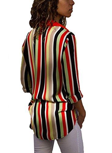 Manches Rouge Longues Femme pour Avanon d'automne Chemise Longues T Rayures Blouse Shirt Manches Shirt qwHHCFB