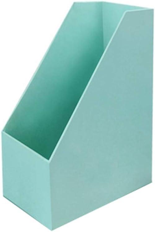 HUXIUPING Caja de almacenamiento A4 Carpeta de papel Suministros de oficina de escritorio Caja de papelería Dormitorio creativo Caja de libro de madera de inserción oblicua (Color : Mint green) :