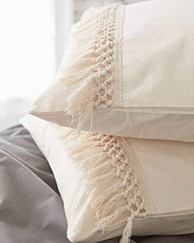Check Out This White Tassel Sham Cotton Pillow Covers,18.9in x29.1in,Set of 2